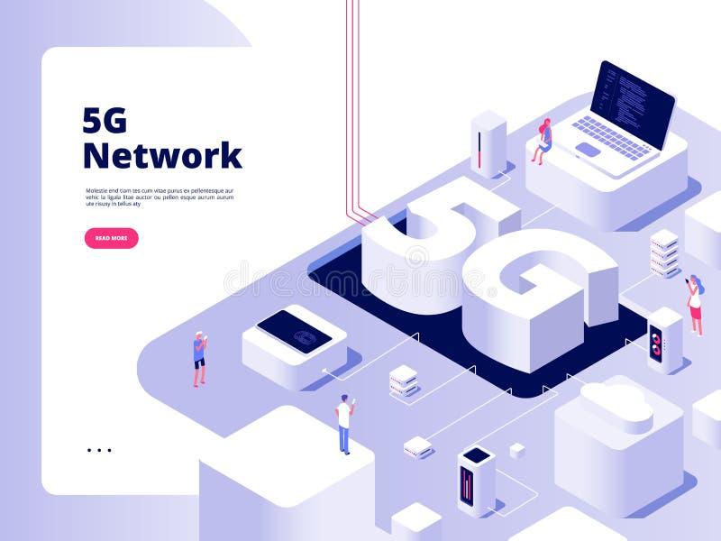 concepto 5G Telecomunicación de banda ancha de la red global del wifi de los apuroses de Internet de la velocidad de la tecnologí libre illustration