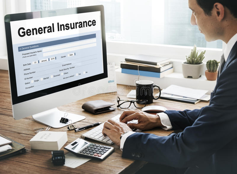 Concepto general de la información de forma de la rebaja del seguro imagenes de archivo