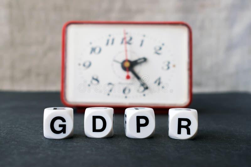 Concepto general de la regulación de la protección de datos Letras GDPR con re imágenes de archivo libres de regalías