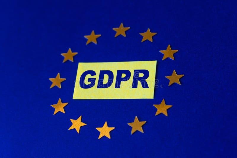 Concepto general de la regulación de la protección de datos Letras GDPR en grito foto de archivo libre de regalías