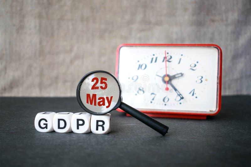 Concepto general de la regulación de la protección de datos Letras GDPR, magnif foto de archivo libre de regalías