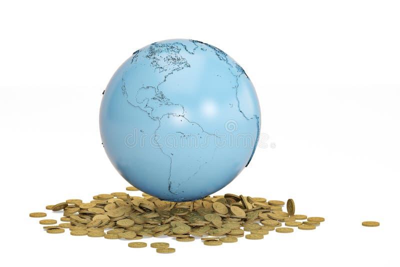 Concepto global azul de las finanzas de las monedas de la tierra y de oro illustratio 3D foto de archivo