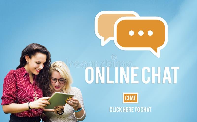 Concepto global de la comunicación de la conversación en línea de la charla imagenes de archivo