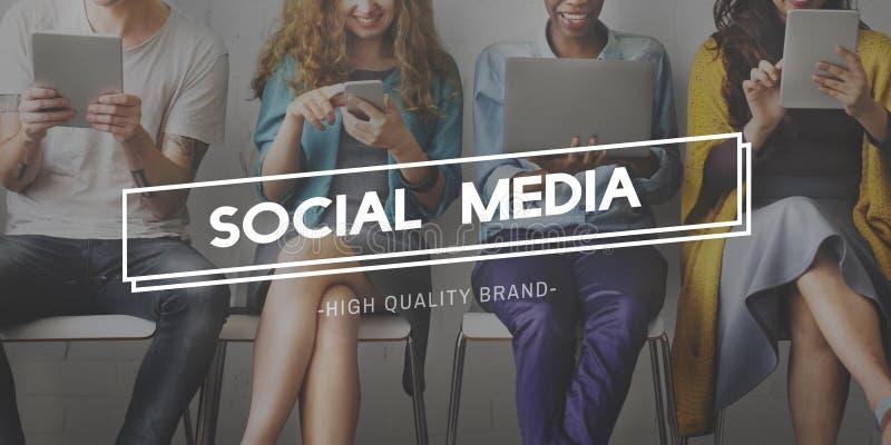 Concepto global de la comunidad social de Media Communication fotografía de archivo libre de regalías