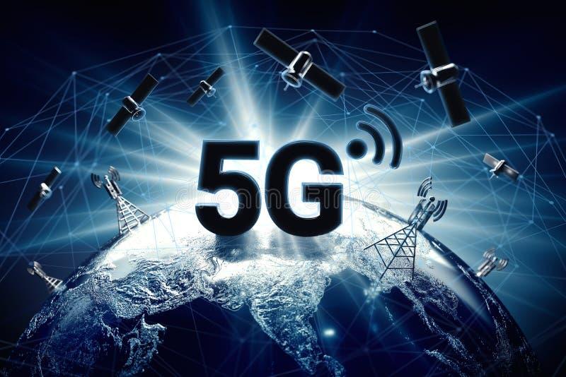 Concepto global de la conectividad con nodos mundiales de la conexión de la red de comunicaciones alrededor del glob Azul teñido  stock de ilustración