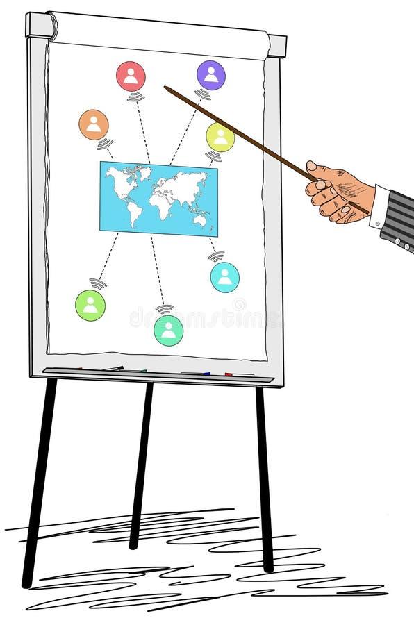 Concepto global de la conexión dibujado en un flipchart libre illustration