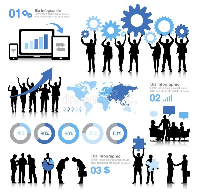 Concepto global de la organización del trabajo en equipo de la comunicación empresarial ilustración del vector