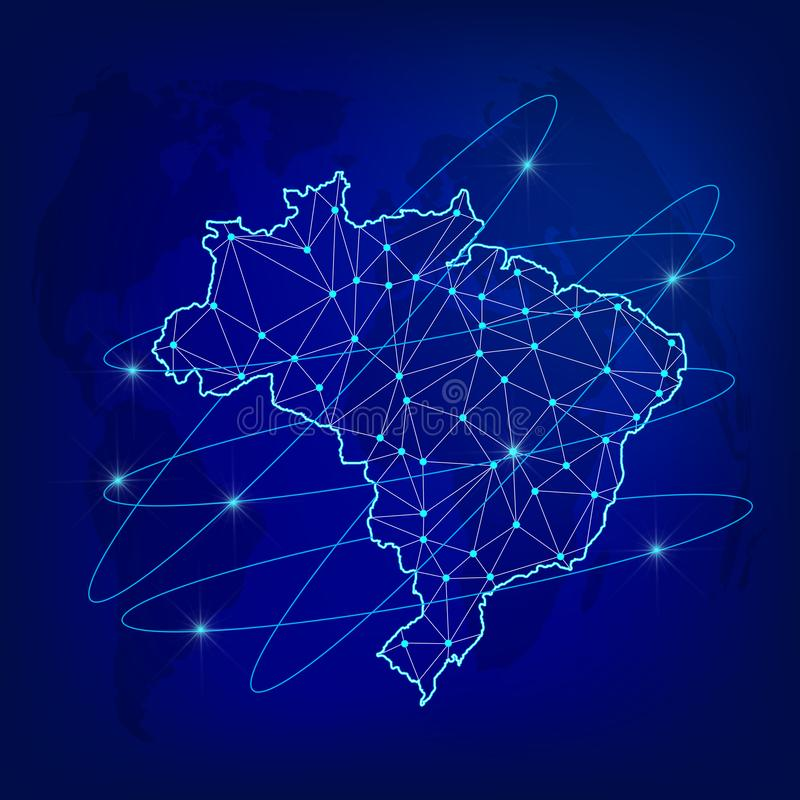 Concepto global de la red de la logística Mapa de red el Brasil de las comunicaciones en el fondo del mundo Mapa del Brasil con n ilustración del vector