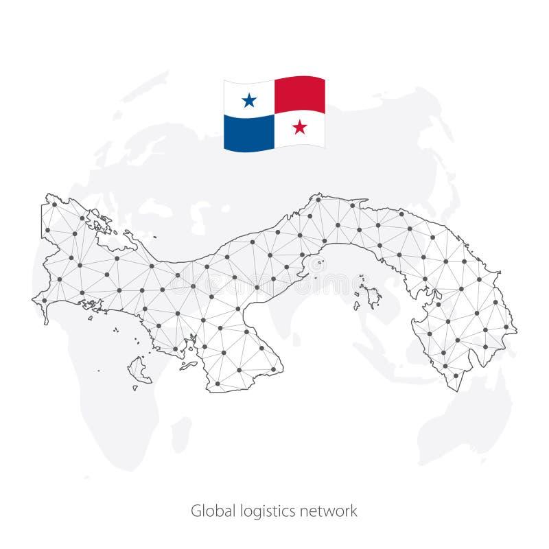 Concepto global de la red de la log?stica Mapa de red Panamá de las comunicaciones en el fondo del mundo Mapa de Panamá con nodos stock de ilustración