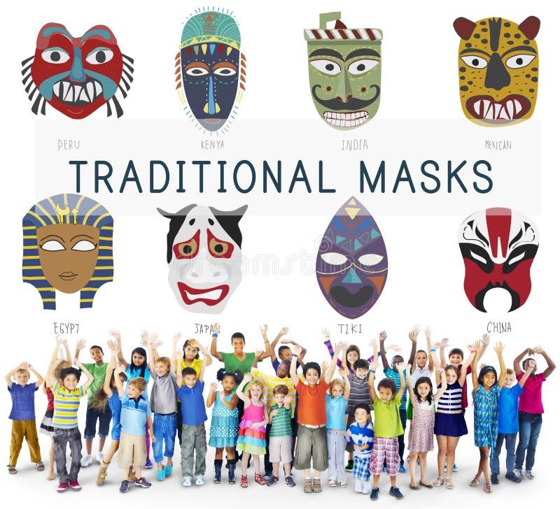 Concepto global de las máscaras tradicionales culturales fotos de archivo