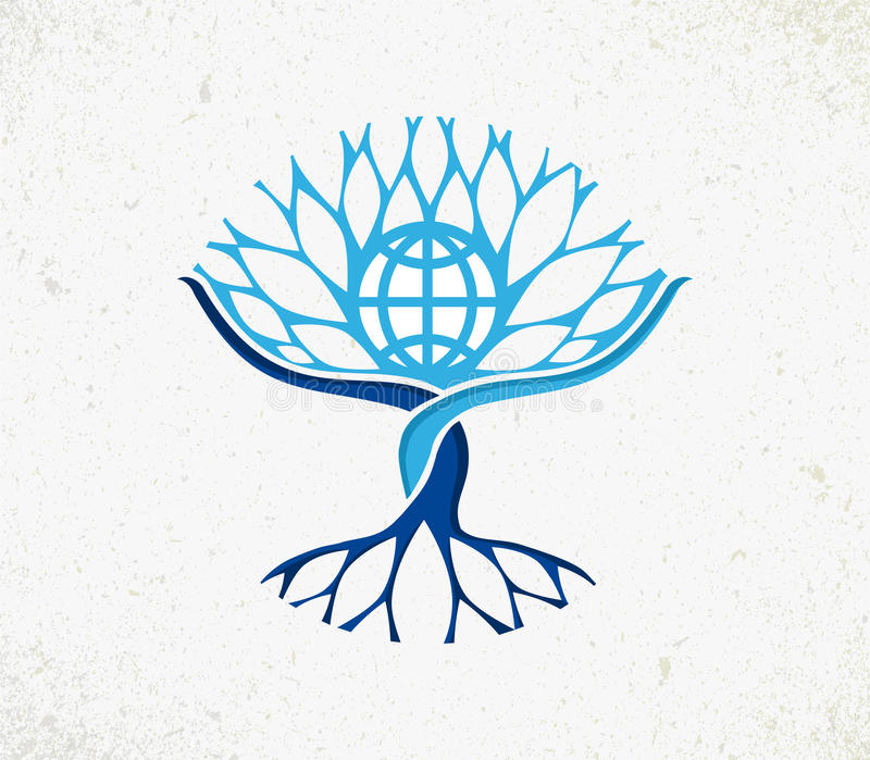Concepto global del árbol del mundo de la comunidad ilustración del vector
