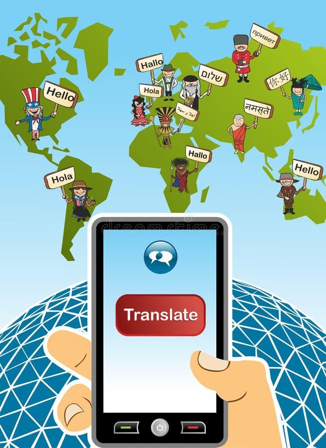 Concepto global del app de la traducción stock de ilustración
