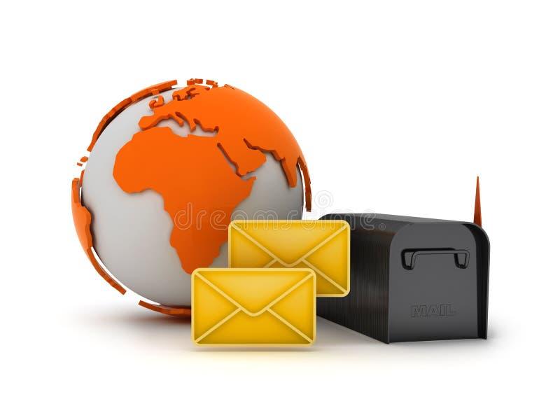 Concepto global del correo stock de ilustración