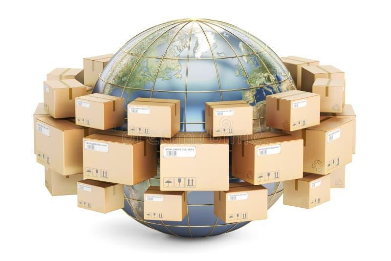 Concepto global del envío y de la entrega, cajas de cartón de los paquetes AR stock de ilustración