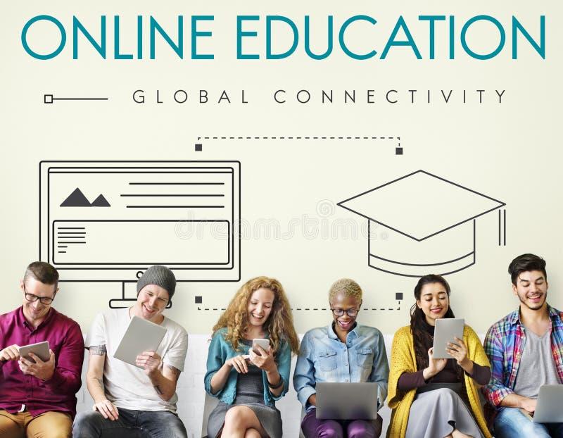 Concepto global del gráfico de la conectividad de la educación en línea fotos de archivo