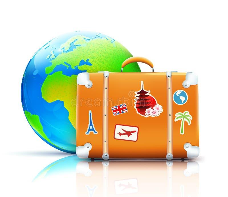 Concepto global del recorrido stock de ilustración