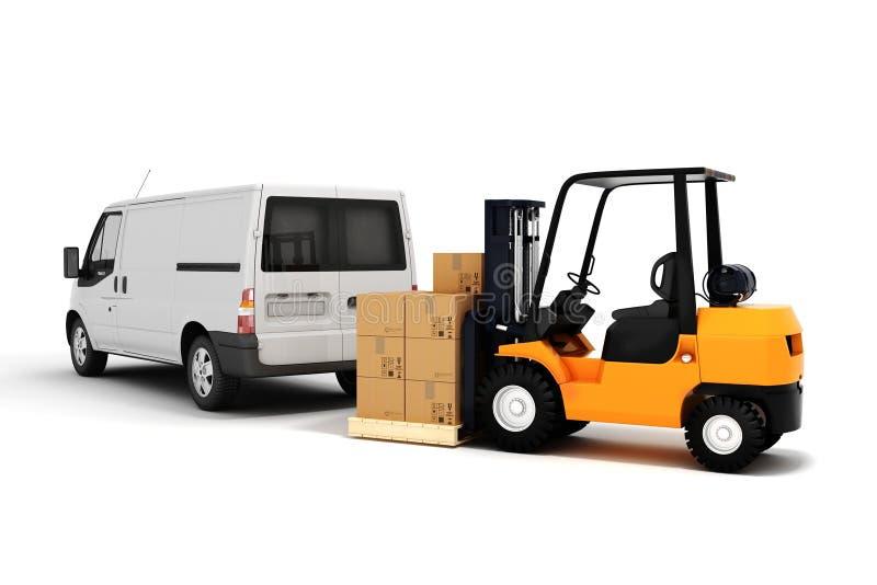 concepto global del transporte de cargo 3d stock de ilustración