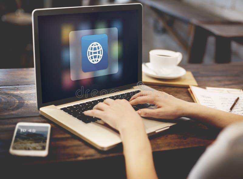 Concepto global del uso de Digitaces del icono foto de archivo libre de regalías