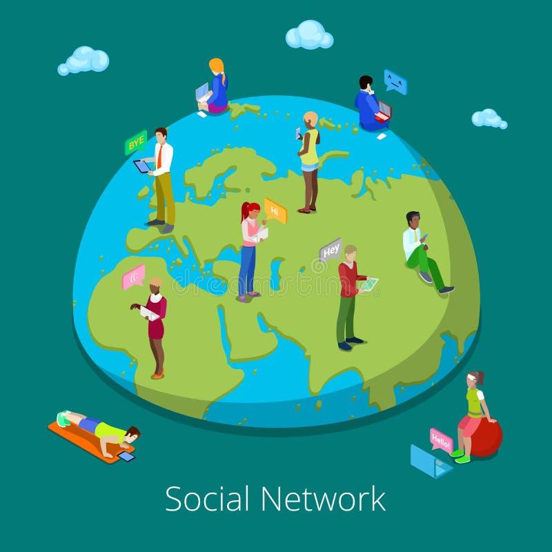 Concepto global isométrico de la comunicación de la gente Gente que charla a través de los dispositivos electrónicos libre illustration