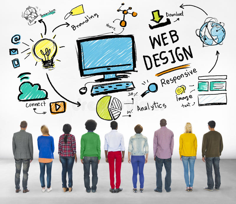 Concepto gráfico de la página web de Webdesign de la creatividad contenta fotografía de archivo