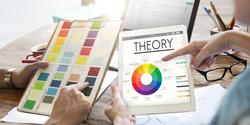 Concepto gráfico del esquema de color de la carta de la teoría imagenes de archivo