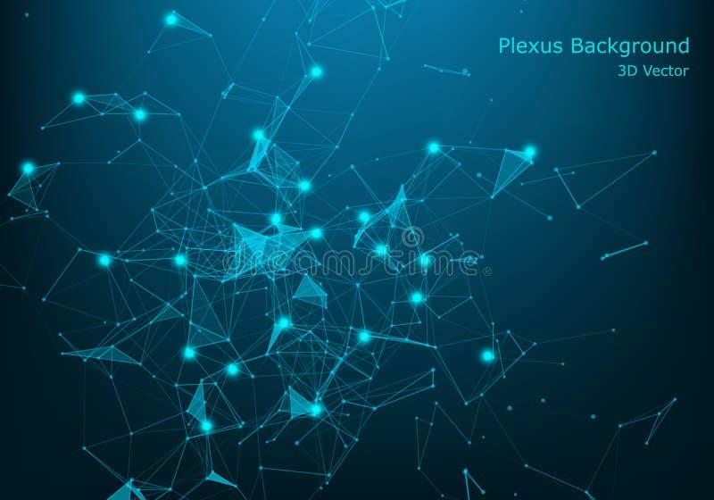 Concepto grande de la visualización de la red de datos Industria musical de Digitaces, fondo del vector de la ciencia abstracta D stock de ilustración