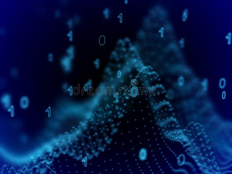 Concepto grande de los datos: código binario en espacio cibernético ilustración del vector