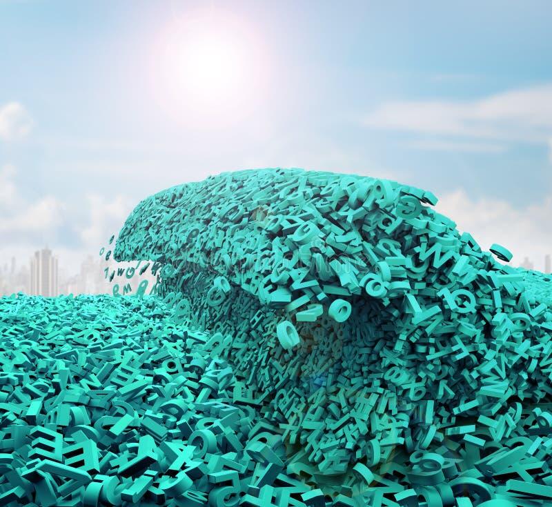 Concepto grande de los datos Los caracteres verdes enormes formaron ondas