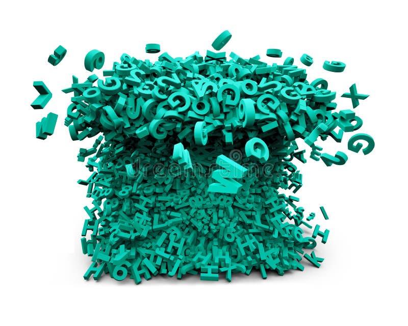Concepto grande de los datos Los caracteres verdes enormes formaron ondas ilustración 3D