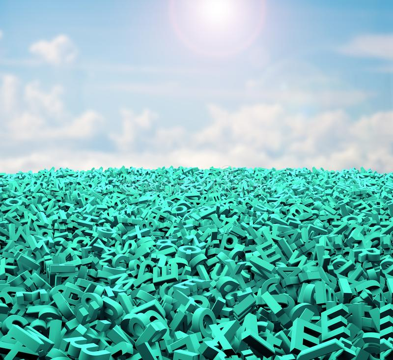Concepto grande de los datos, caracteres verdes enormes, nubes del cielo de la luz del sol