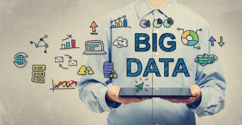 Concepto grande de los datos con el hombre que sostiene una tableta imagen de archivo libre de regalías