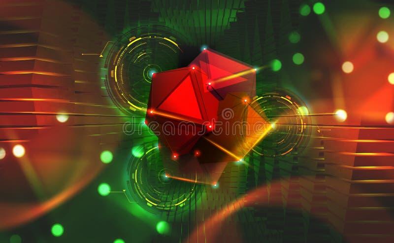 Concepto grande de los datos Portal Hyperspace Elementos de la nanotecnología del Hadron Collider stock de ilustración