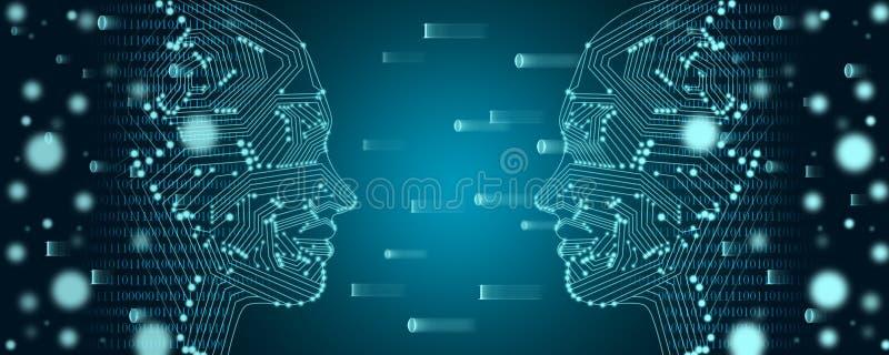 Concepto grande del aprendizaje de los datos y de máquina Esquema femenino de dos caras con flujo de datos binarios en un fondo foto de archivo libre de regalías