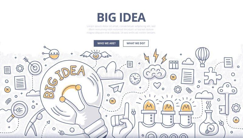 Concepto grande del garabato de la idea stock de ilustración