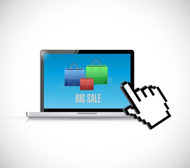 concepto grande del icono de los panieres de la venta del ordenador libre illustration