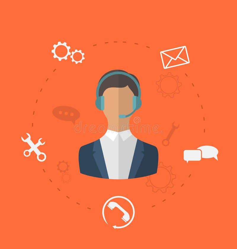 Concepto 24h de la atención al cliente disponible en línea, varón del puesto de informaciones libre illustration