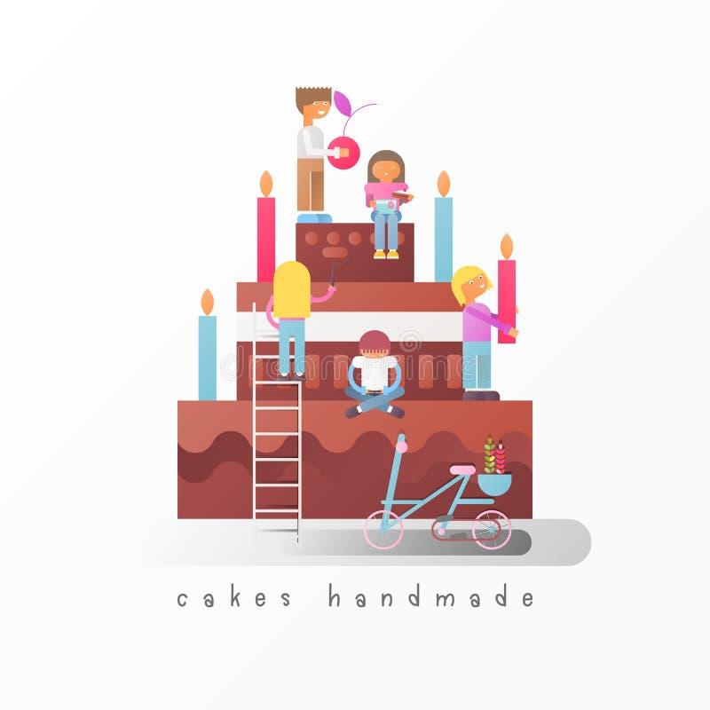 Concepto hecho a mano de las tortas libre illustration