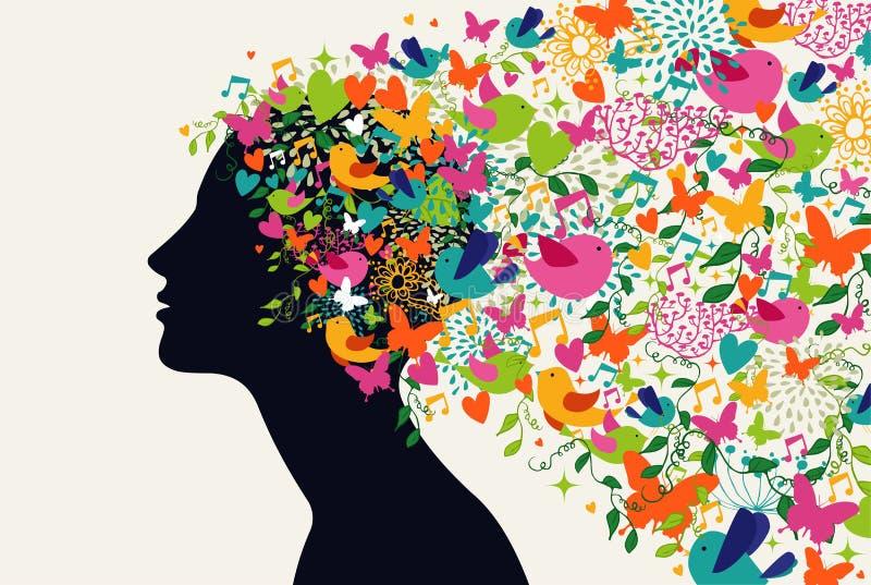 Concepto hermoso de la estación del pelo de la mujer ilustración del vector