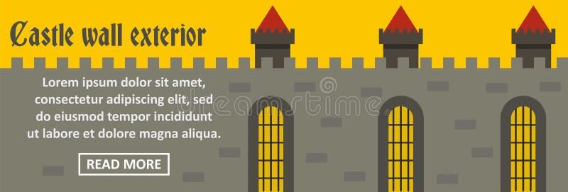 Concepto horizontal de la bandera exterior de la pared del castillo libre illustration