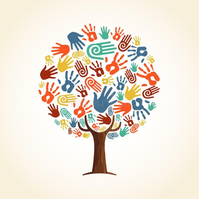 Concepto humano del árbol de la mano para la ayuda de la comunidad stock de ilustración