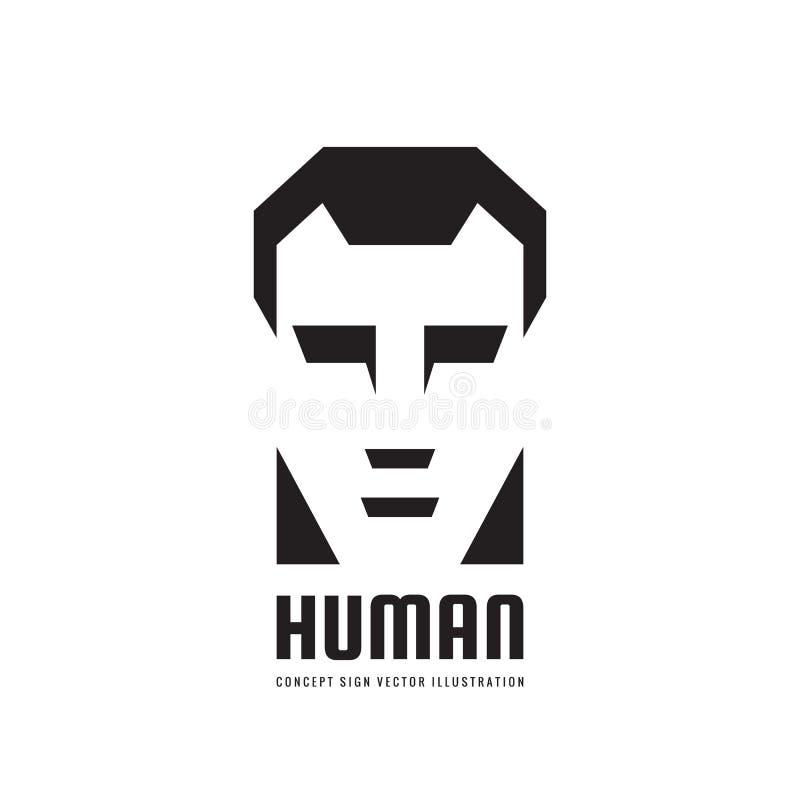 Concepto humano del logotipo del vector de la cabeza del carácter para la empresa de negocios, el sitio web, el juego de ordenado ilustración del vector