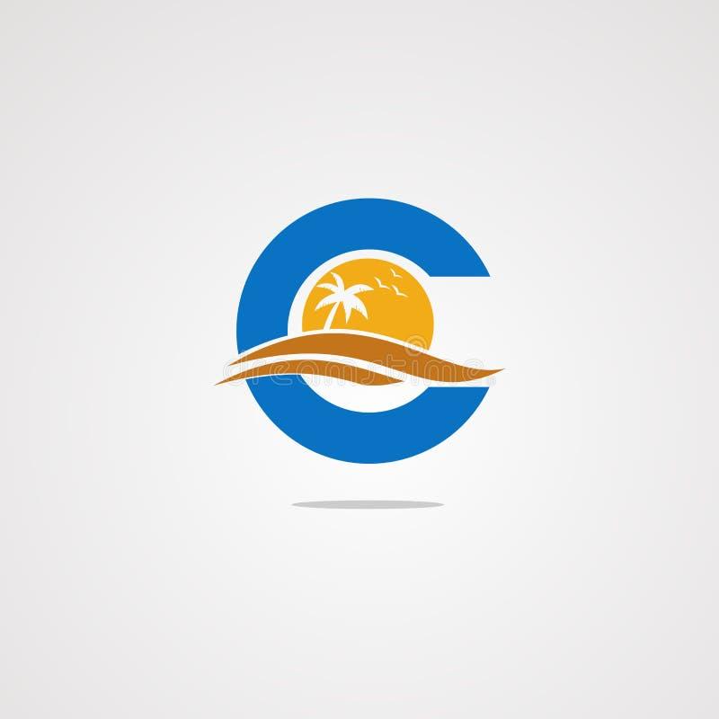 Concepto, icono, elemento, y plantilla del vector del logotipo de la playa de la letra c para la compañía ilustración del vector