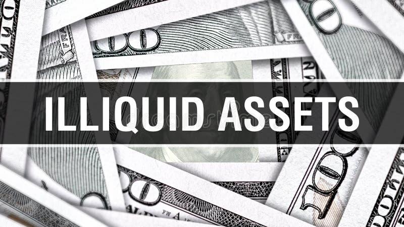 Concepto Illiquid del primer de los activos Dólares americanos de dinero del efectivo, representación 3D Activos Illiquid en el b ilustración del vector