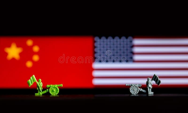 Concepto ilustrativo abstracto de tarifas y de guerras comerciales entre los E.E.U.U. y la China fotografía de archivo