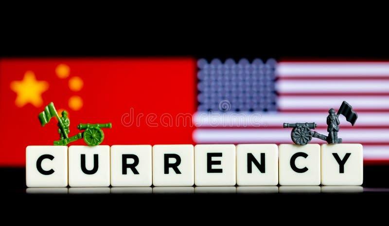 Concepto ilustrativo abstracto de tarifas y de guerras comerciales entre los E.E.U.U. y la China foto de archivo libre de regalías