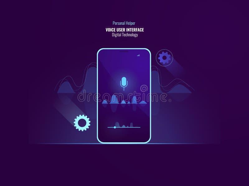 Concepto impresionante del comando de la interfaz de usuario de la voz, teléfono móvil con la onda acústica, equalizador, uso de  libre illustration