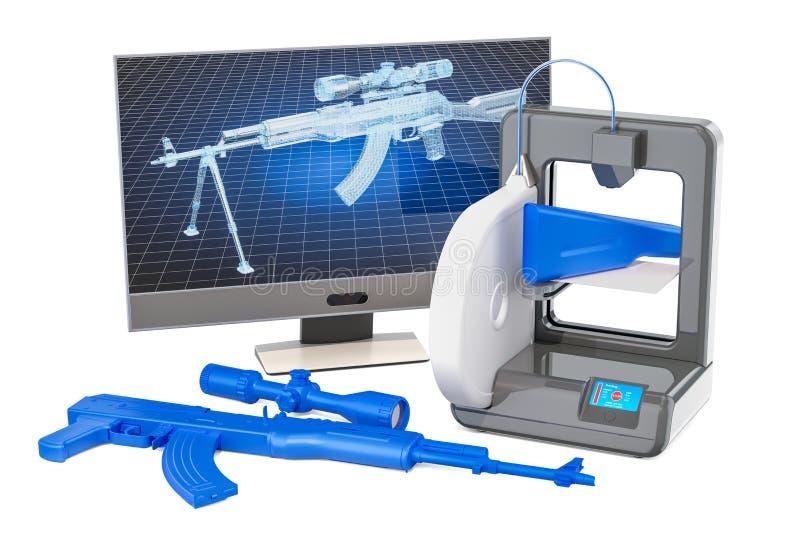 concepto impreso 3d de las armas de fuego, representación 3D libre illustration