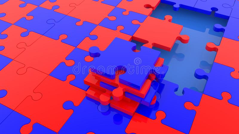 Concepto inacabado del rompecabezas en colores rojos y azules libre illustration