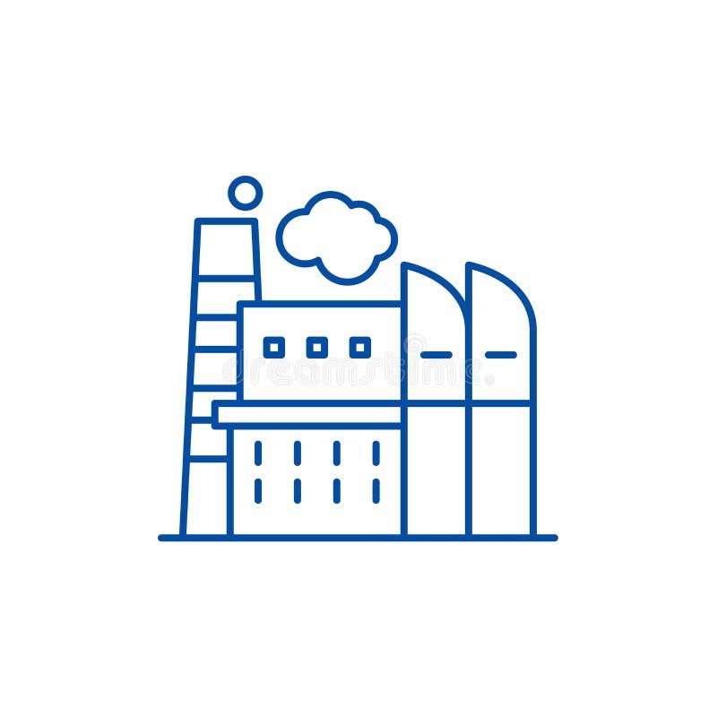 Concepto industrial del icono de la línea central Símbolo plano del vector del centro industrial, muestra, ejemplo del esquema stock de ilustración