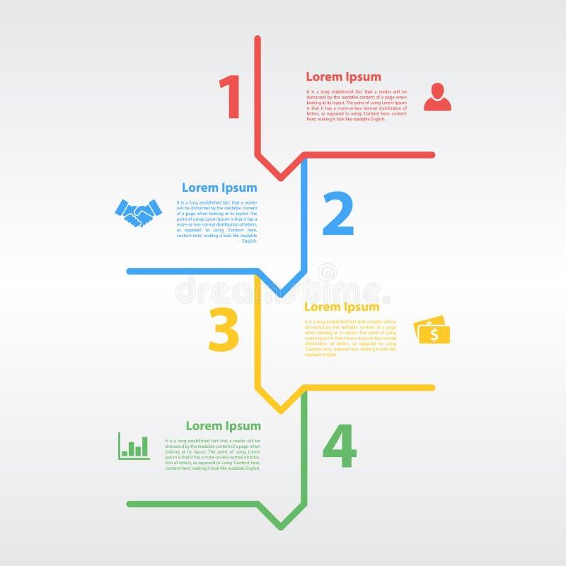 Concepto infographic de la disposición de la secuencia de cuatro pasos ilustración del vector